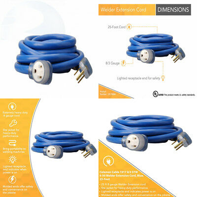 Coleman Cable 1917 8//3 STW 6-50 Welder Extension Cord With 3-Prong Plug In Blue