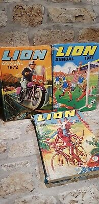 Job Lot 3 LION ANNUALS 1972, 1973 & 1974 Vintage Children's Annuals TBLO