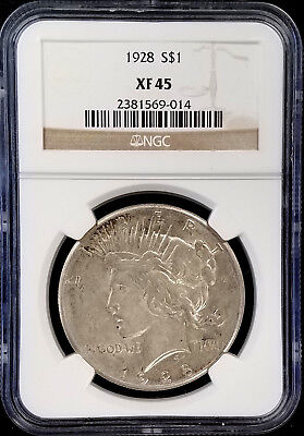 1928 Peace Dollar certified XF 45 by NGC! A key coin of the series! NO RESERVE!