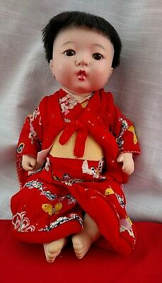 Vintage 1930 Bisque Japanese Doll Glass Eyes Kimono Outfit Rope Jointed 12""