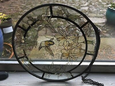 Stained glass windcatcher circular leaded panel etched hummingbird with flowers