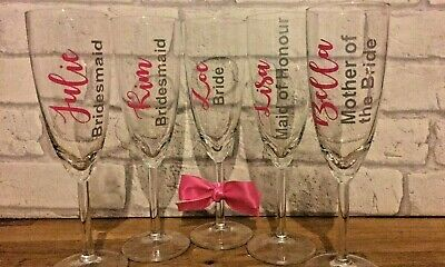 Personalised Name Champagne Glass Wedding Bridal Birthday Hen Party 20 Colours