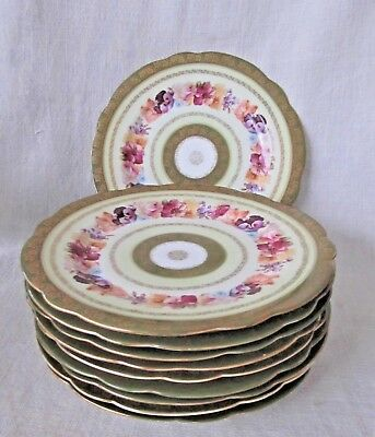 """10 IMPERIAL CROWN CHINA AUSTRIA PLATES 8 1/2""""  Bawo & Dotter c.1900 Hand Painted"""
