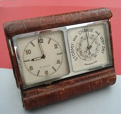 ART DECO 8-day Travel CLOCK Barometer pocket-size camera-fold Jaeger-like case