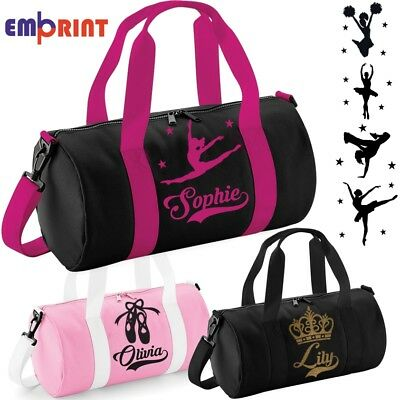 Personalised Barrel Dance Bag Girls Kids Womens School Gymnastics Ballet Holdall
