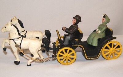 Vintage CAST IRON Horse Drawn Carriage Buggy with Driver & Lady Passenger