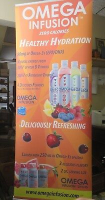 "Banner Stand-Aluminum-85"" tall-w/ Case-Retractable-Roll Up"