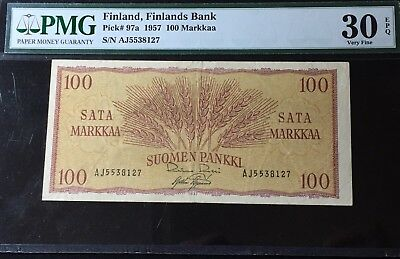 1957 FINLAND 100 MARKKAA P#97a PMG 30 EPQ SWEDEN/NORWAY/RUSSIA