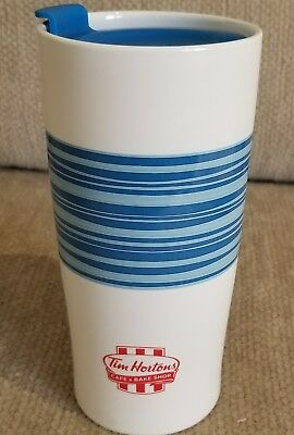 Tim Hortons 2015 Limited Edition BLUE Striped Coffee Travel Mug Cup FREE SHIP