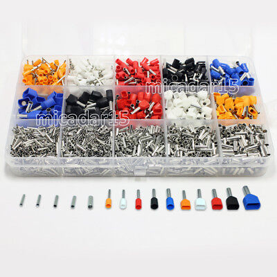 2400pc MIXED TYPE Terminals Twin Double Dual Bootlace Ferrule Cable Wire Pin End