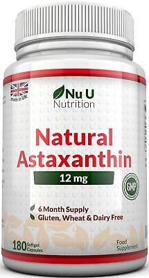 Nu U Nutrition Astaxanthin Premium Strength, 12mg – 180 Softgels (6 Month Supp