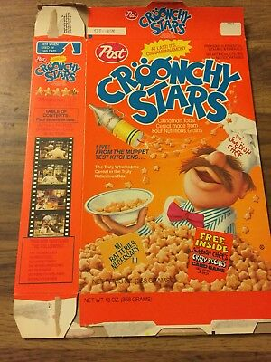 Post Muppets Croonchy Stars Swedish Chef 1989 Cereal Box Vintage Old