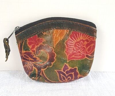 Vintage Painted Embossed Leather Zippered Coin Purse Flower Design
