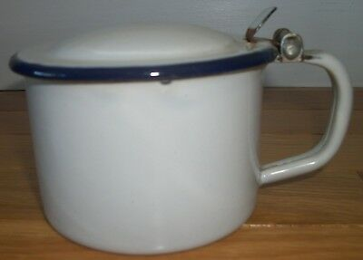 Vintage Enamel Cup Cuspidor Flip Lid French Blue White Kitchen