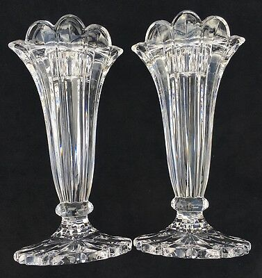 Pair Of Stunning Scalloped Clear Crystal Glass Candlestick Taper Candle Holders