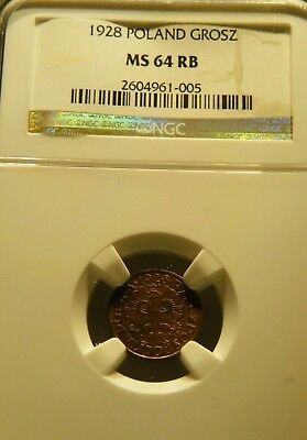 Poland 1928 Grosz ** NGC 64 RB ** Red Brown