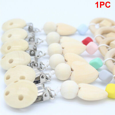 Baby Infant Dummy Pacifier Soother Nipple Wood Chain Clip Holder DIY Gift Useful