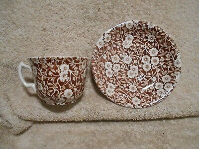 Crownford China Staffordshire England Brown Calico Cup Saucer Set Chintz #3  582