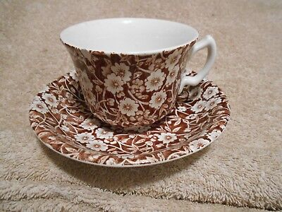 Crownford China Staffordshire England Brown Calico Cup Saucer Set Chintz #4  583