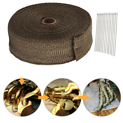 15M Titanium Wrap Exhaust Manifold Brown Insulating Starp + 10 Cable Ties New