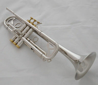 Professional Silver nickel Gold Trumpet Bb Key Monel horn with case
