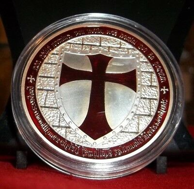 Red Cross Masonic Knights Templar Silver Plated Commemorative Novelty Art-Coin.