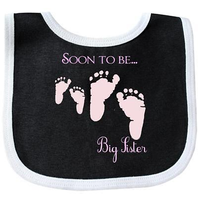 Inktastic Soon To Be Big Sister Baby Bib Family Feet Pink Number One Sisters