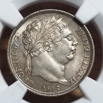 1817 Great Britain Silver 6 Pence George III MS 63 NGC Beautiful Coin
