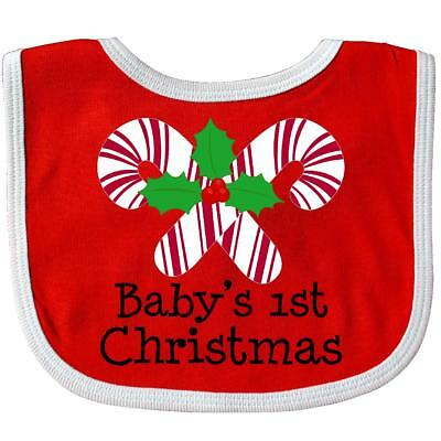 Inktastic Baby's 1st Christmas Candy Canes Baby Bib Cane Sweet Holly Red Gift