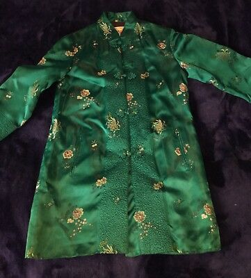 VTG Chinese Embroidered Shanghai Jade Green Silk Kimono Antique Peoni Flowers