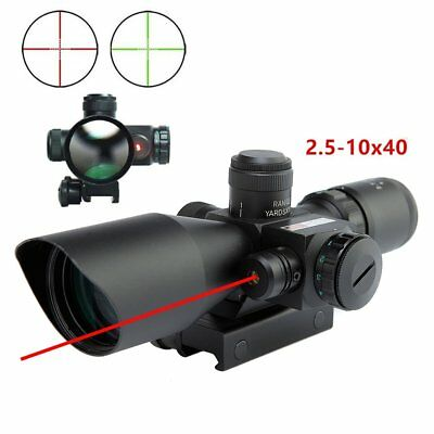 2.5-10X40 Illuminated Rifle Scope w/ Red Laser Dual Mil-dot w/ Rail Mounts ZLDE