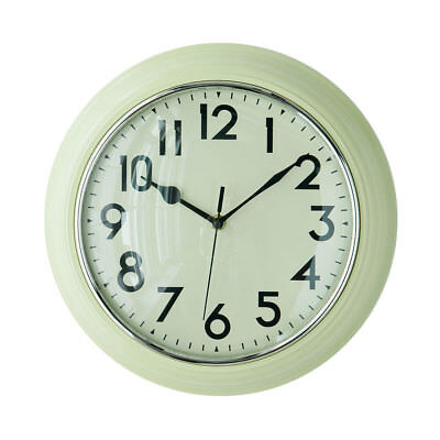 Premier Housewares Wall Clock, Cream Plastic, Large Numbers, White Face