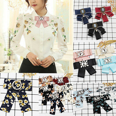 Women Butterfly Knot Brooch Wedding Clip Tie Ribbon Rhinestone Necktie Brooch