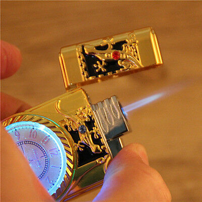 Cool Multifunctional Windproof Jet Torch Gas Cigarette Lighter Quartz Watch Gift