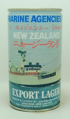 Leopard 'Marine Agencies' 34 cl  steel beer can from New Zealand