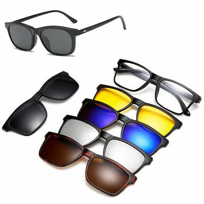 Magnetic Spectacle  Glasses Frame With 5 Pieces Clip-on Polarized Sunglasses