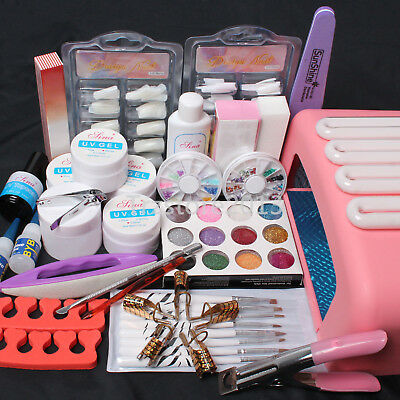 Nail Art Kit UV Builder Gel 36W Timer Dryer Lamp Decorations full Tools Set - US