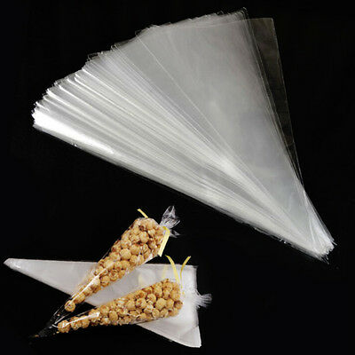 100PCS Cellophane Candy Popcorn Cones Cello Bags Party Favour Candy Treat Pack~~
