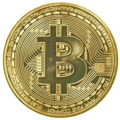 1xGold Bitcoin Commemorative Round Collectors Coin Bit Coin Gold Plated Coins NE