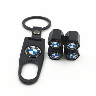 4pcs Black Styling Car Logo Tire Tyre Valve Air Caps Metal Cover For BMW Series