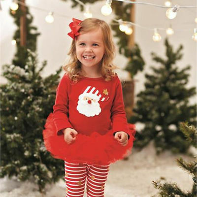 2016 Newborn Baby Girl T-shirt Top +Dress Outfit Xmas Costume Outfits Set