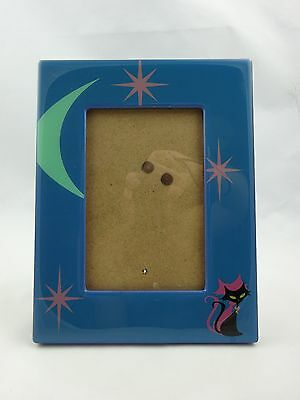 Atomic Black Cat / Pink Cat Vintage Style Teal & Pink Picture Frame ~ 4x6 Photo