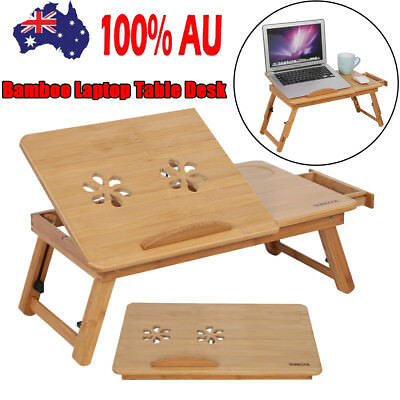 New Adjustable Folding Bamboo Laptop Table Desk Notebook Computer Book Bed Tray