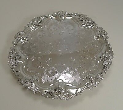 "Antique English Silver Plated 12"" Salver / Tray Dated 1862"
