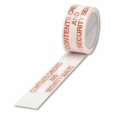 Polypropylene Tape Printed Contents Checked White/Red 50mmx66m  [MA19368]