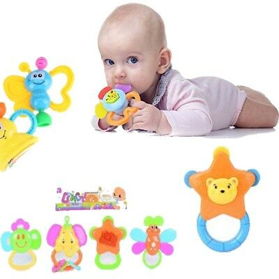 4pcs Baby Rattle and Teether Easy Grip, Baby Toy Baby Activity Toys Gift Set UK