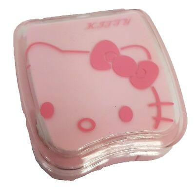 Mini Pink Kitty Coloured Contact Lens Lenses Travel Kit - Mirror Case Tweezers