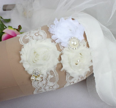 Crystal Rhinestones Ivory Flower Lace Bridal garter Sets for Wedding Handmade