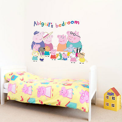 Personalised Peppa Pig Family wall sticker   Official Peppa Pig wall stickers