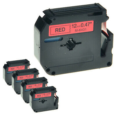 """5 PK MK 431 M-K431 Black on Red Label Tape for Brother P-Touch PT-65SL 1/2"""" 12mm"""